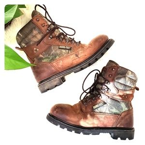 Rocky Goretex brown leather camo hunting boots